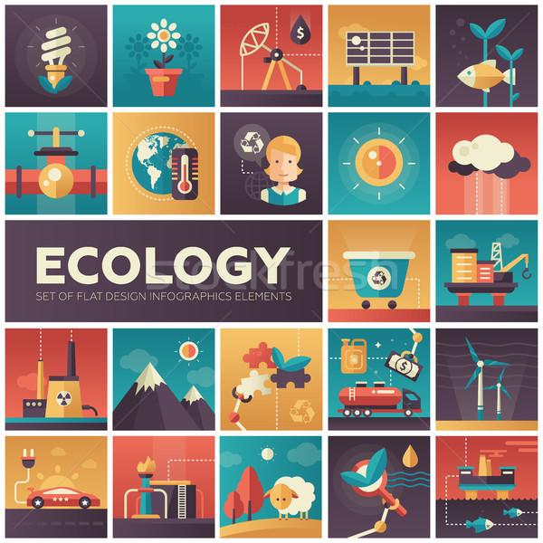 Ecology - modern flat design isquare icons Stock photo © Decorwithme