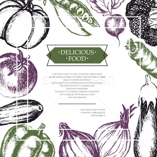 овощей цвета рисованной Flyer три Сток-фото © Decorwithme