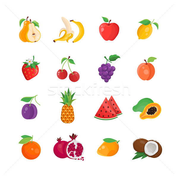 Natural Food - modern vector line icons set Stock photo © Decorwithme