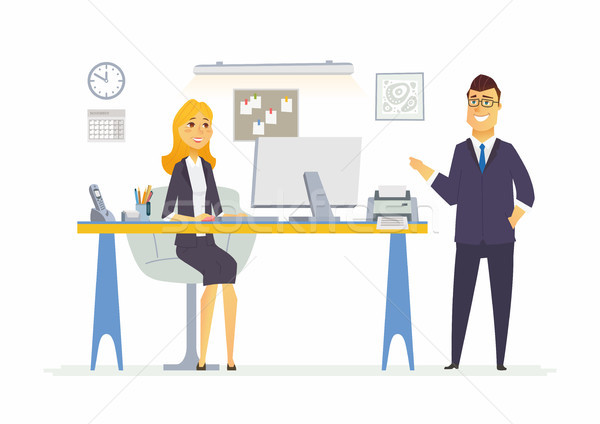 Stockfoto: Kantoor · leven · moderne · vector · cartoon · business