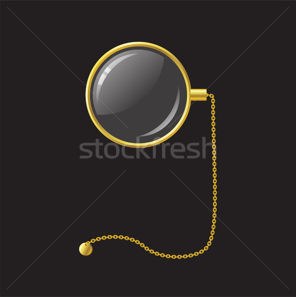 Golden monocle with chain - modern vector realistic isolated object illustration Stock photo © Decorwithme