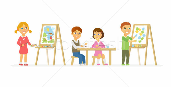 Children drawing in class - cartoon people characters isolated illustration Stock photo © Decorwithme