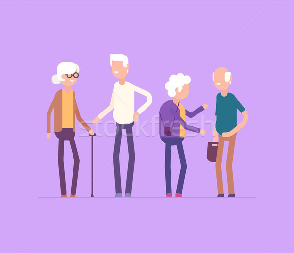 Stock photo: Retired people meeting - modern flat design style isolated illustration