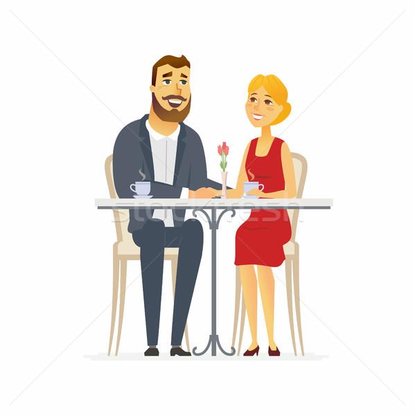 Boldog pár randevú rajzolt emberek karakter izolált Stock fotó © Decorwithme