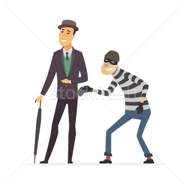 Pickpocket stealing wallet - cartoon people characters illustration Stock photo © Decorwithme
