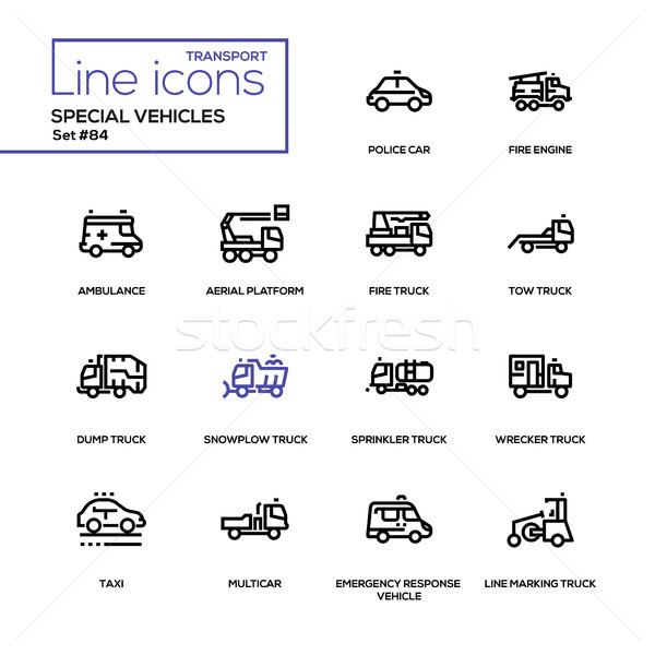 Special vehicles - line design icons set Stock photo © Decorwithme