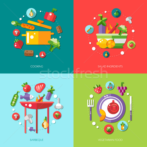Illustration of flat design food, fruits and vegetables icons co Stock photo © Decorwithme