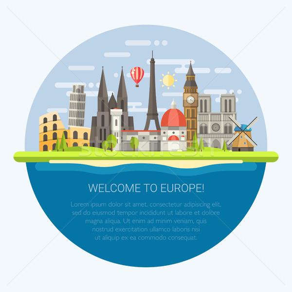 иллюстрация дизайна известный европейский Мир бизнеса Сток-фото © Decorwithme
