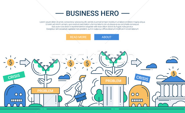 Business hero line flat design banner with business challenge. Stock photo © Decorwithme