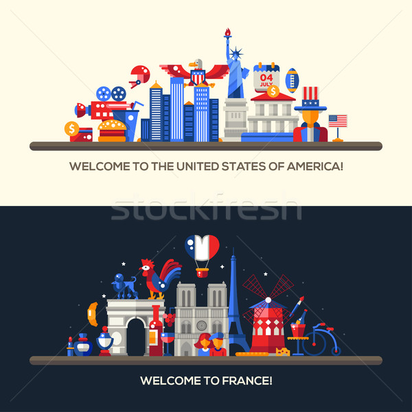 France Usa Travel Banners Set With Famous French Symbols Vector