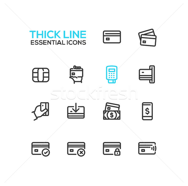 Finance - modern vector single thick line icons set Stock photo © Decorwithme