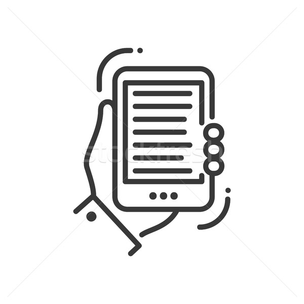 Mobile device - modern vector single line icon Stock photo © Decorwithme