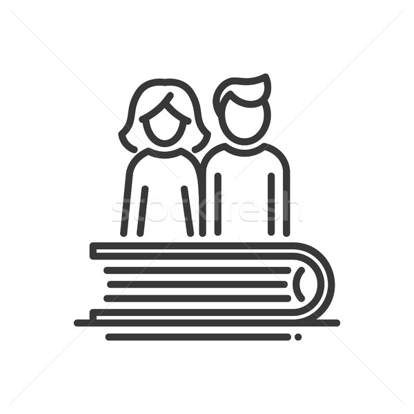 Education - modern vector single line icon Stock photo © Decorwithme