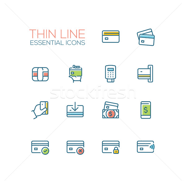 Finance - modern vector single thin line icons set Stock photo © Decorwithme