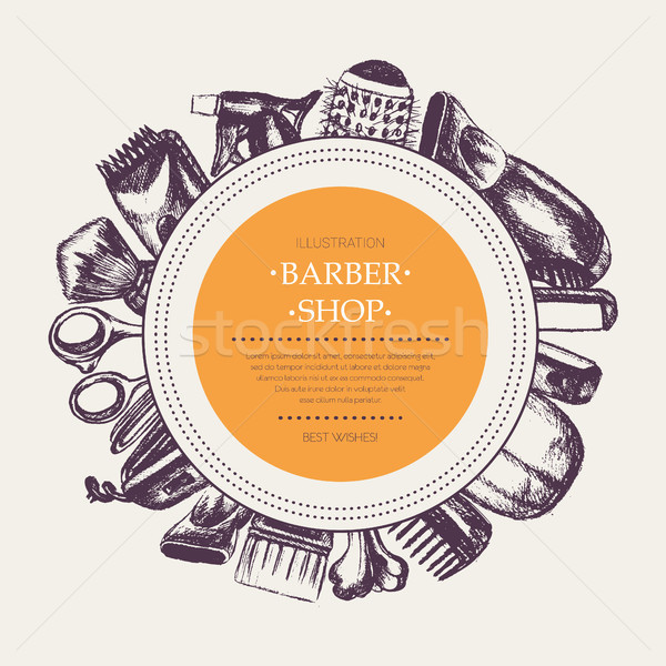 Barber Equipment - vector hand drawn round banner template Stock photo © Decorwithme