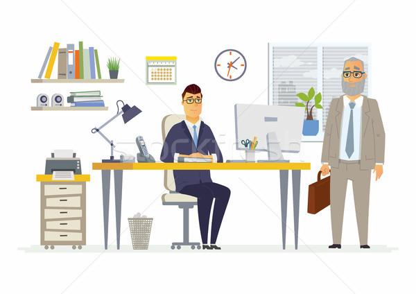 служба сцена современных вектора Cartoon бизнеса Сток-фото © Decorwithme