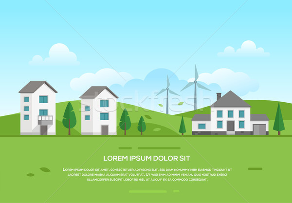 Ecofriendly town with windmills - modern vector illustration Stock photo © Decorwithme