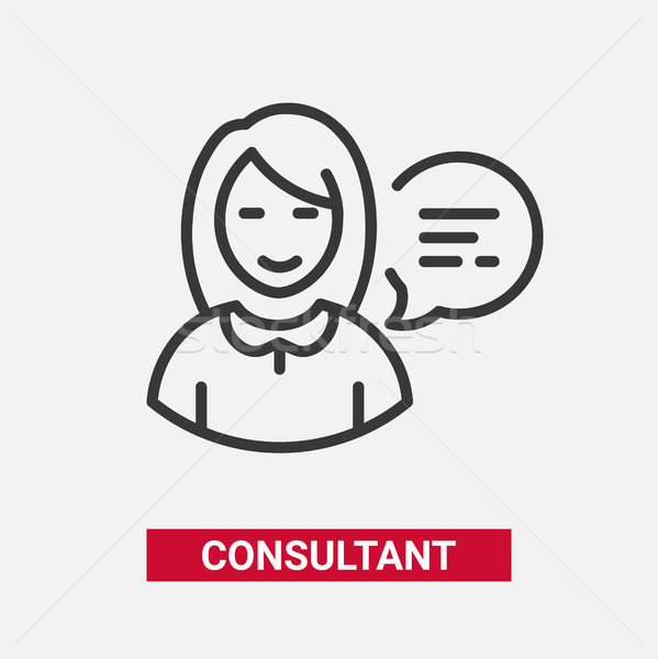 Consultant - modern vector line design single icon. Stock photo © Decorwithme