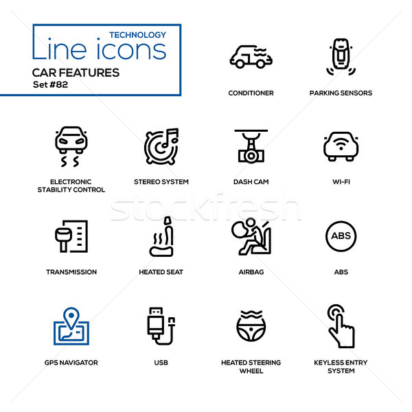 Car features - line design icons set Stock photo © Decorwithme