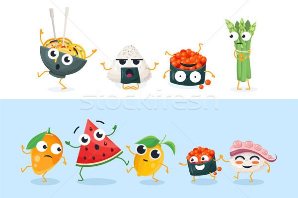 Komik sushi meyve ayarlamak vektör Stok fotoğraf © Decorwithme