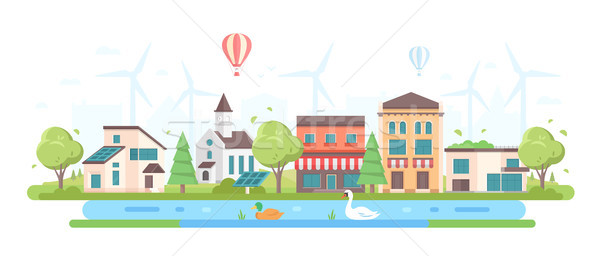 Eco-friendly cityscape - modern flat design style vector illustration Stock photo © Decorwithme