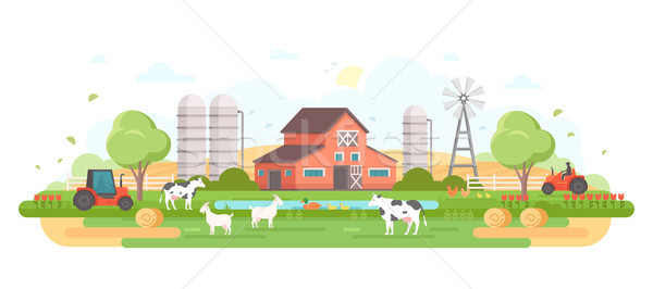 Farm - modern flat design style vector illustration Stock photo © Decorwithme