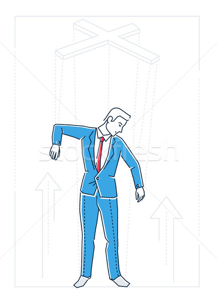 Marionette businessman - line design style isolated illustration Stock photo © Decorwithme