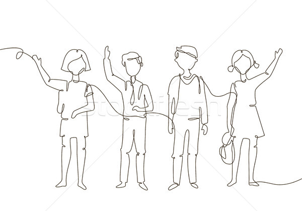 Schoolchildren - one line design style illustration Stock photo © Decorwithme