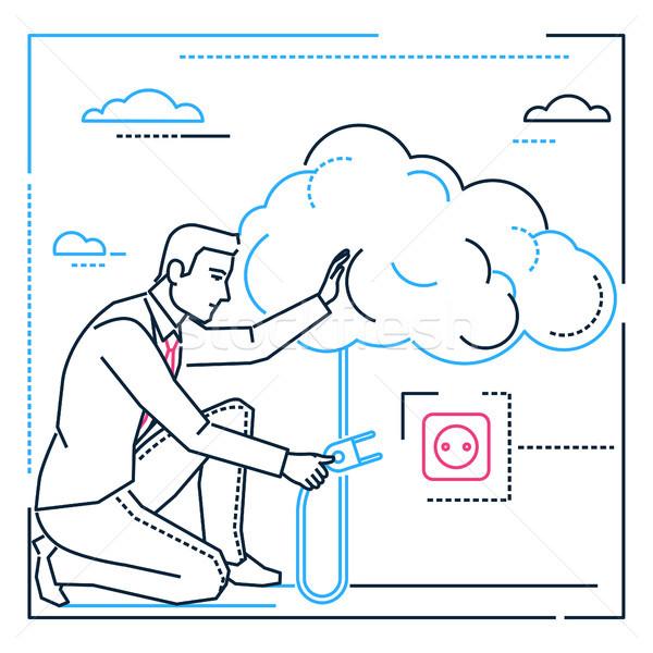 Zakenman zoeken ideeën lijn ontwerp stijl Stockfoto © Decorwithme