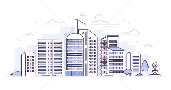 Modern city - thin line design style vector illustration Stock photo © Decorwithme