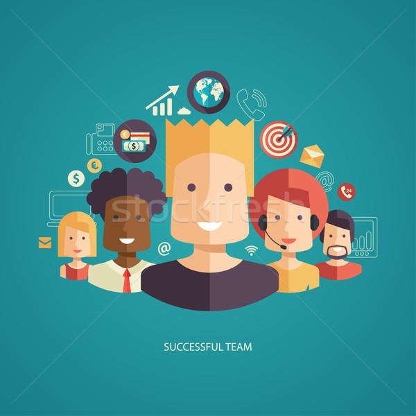 Illustration of flat design business composition with successful team Stock photo © Decorwithme