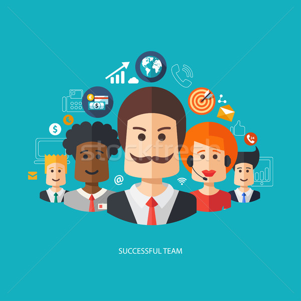 Illustration of flat design business composition with successful Stock photo © Decorwithme