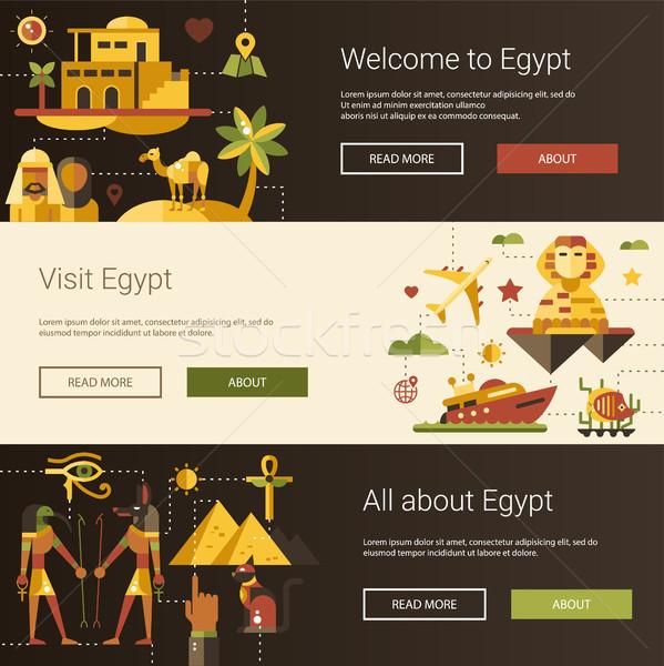 дизайна Египет путешествия Баннеры набор известный Сток-фото © Decorwithme