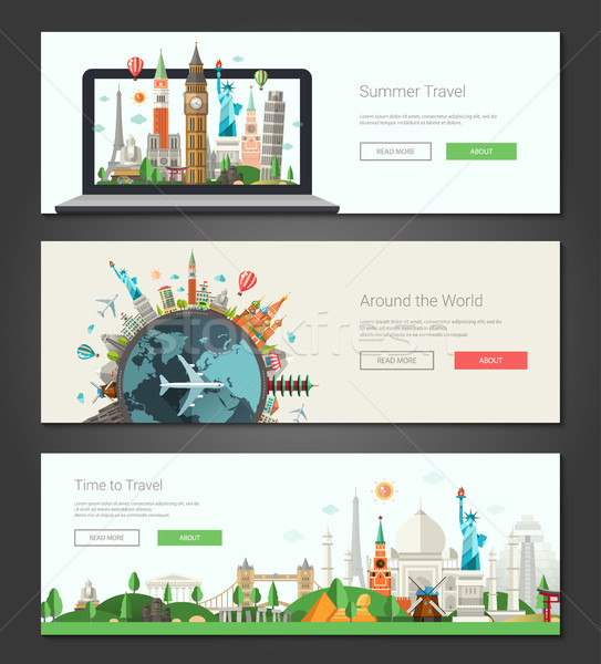Flat design banners, headers set illustration with world famous landmarks  Stock photo © Decorwithme