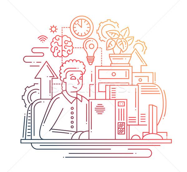 Foto stock: Trabalhar · on-line · linha · projeto · ilustração · vetor