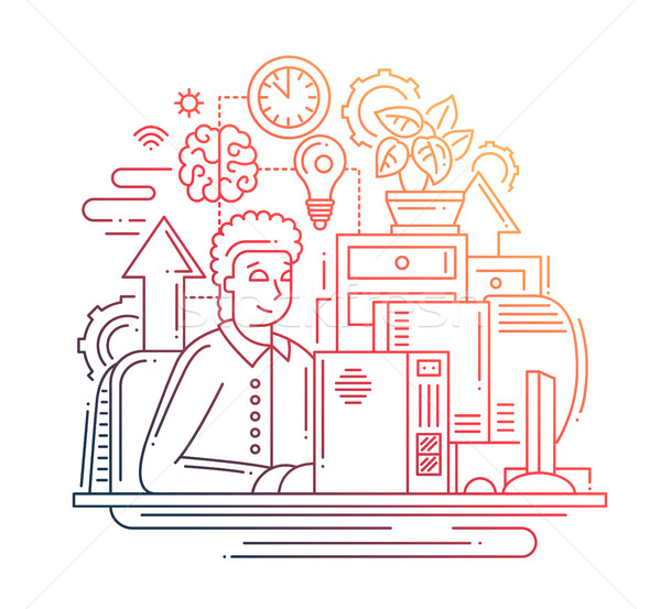 работу онлайн линия дизайна иллюстрация вектора Сток-фото © Decorwithme