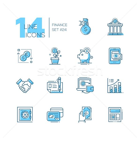 Finance - coloured modern single line icons set Stock photo © Decorwithme