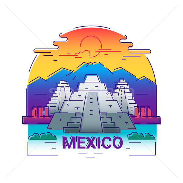 Mexico - modern vector line travel illustration Stock photo © Decorwithme