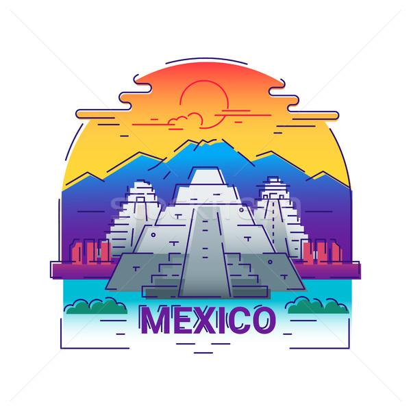 Foto stock: México · moderno · vetor · linha · viajar · ilustração