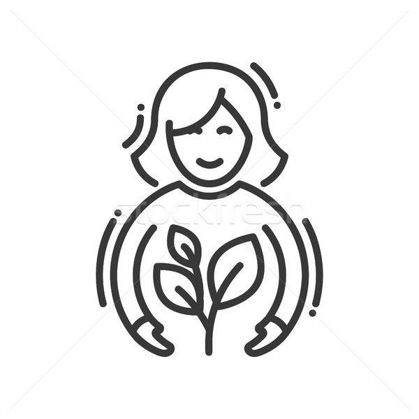Planting - modern vector single line icon Stock photo © Decorwithme