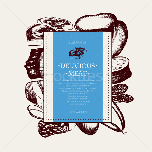 Processed Meat - vector hand drawn square postcard Stock photo © Decorwithme