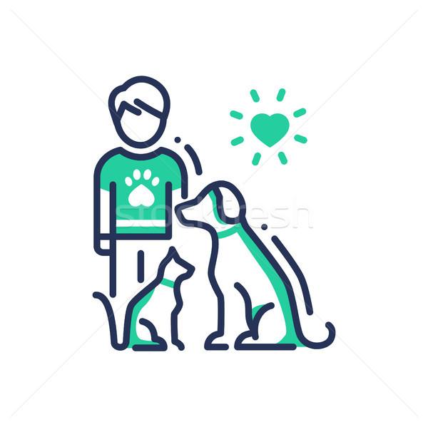 Dieren helpen moderne vector lijn ontwerp Stockfoto © Decorwithme