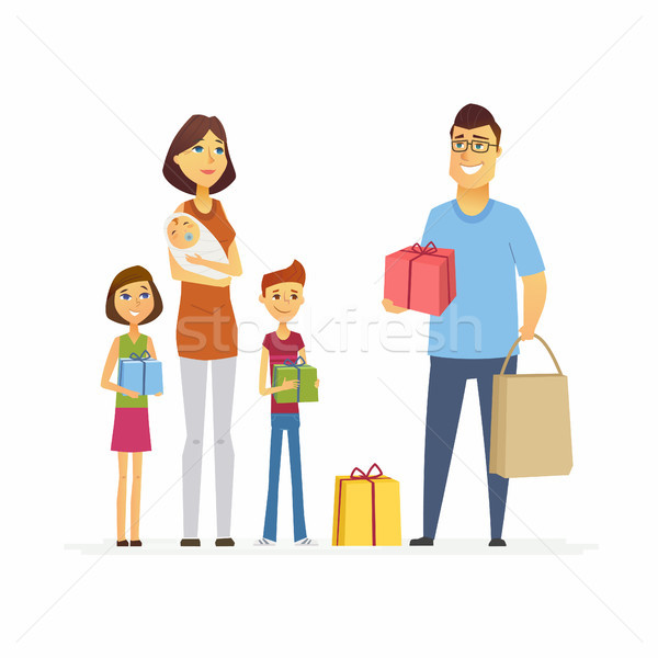 Volunteer help mother with children - cartoon people characters isolated illustration Stock photo © Decorwithme