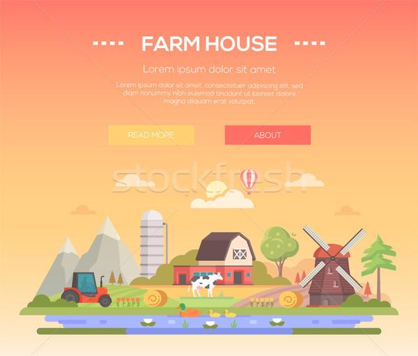 Farm house - modern flat design style vector illustration Stock photo © Decorwithme