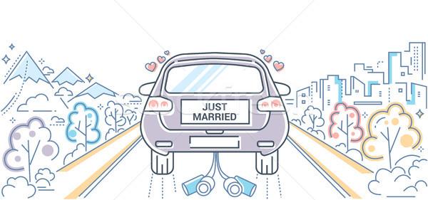 Honeymoon - colorful line design style illustration Stock photo © Decorwithme