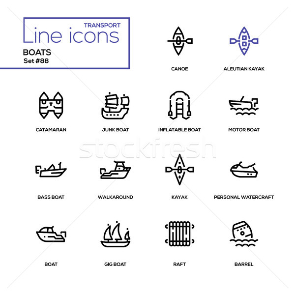 Boats - modern line design icons set Stock photo © Decorwithme