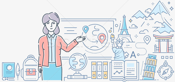 Geography lesson - colorful line design style illustration Stock photo © Decorwithme