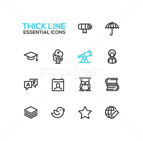 Education - Thick Single Line Icons Set Stock photo © Decorwithme