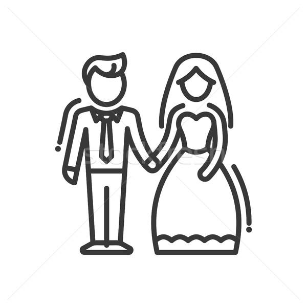 újonnan házaspár vonal terv izolált ikon Stock fotó © Decorwithme