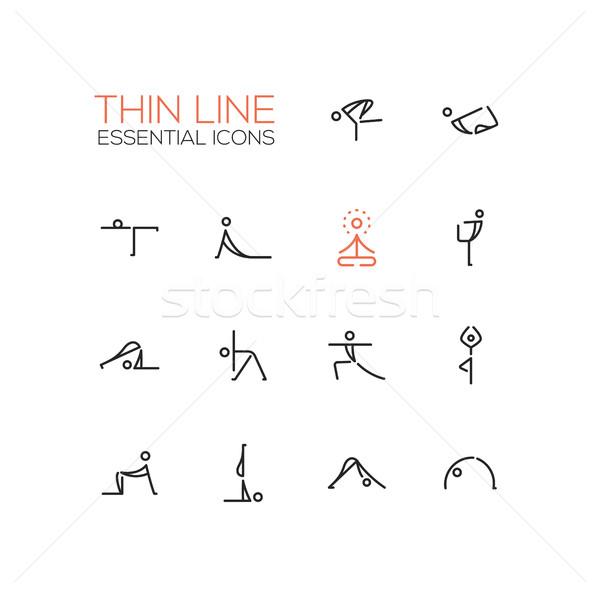 Stockfoto: Yoga · dun · lijn · moderne · vector